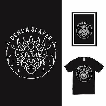 Projekt koszulki demon slayer line art