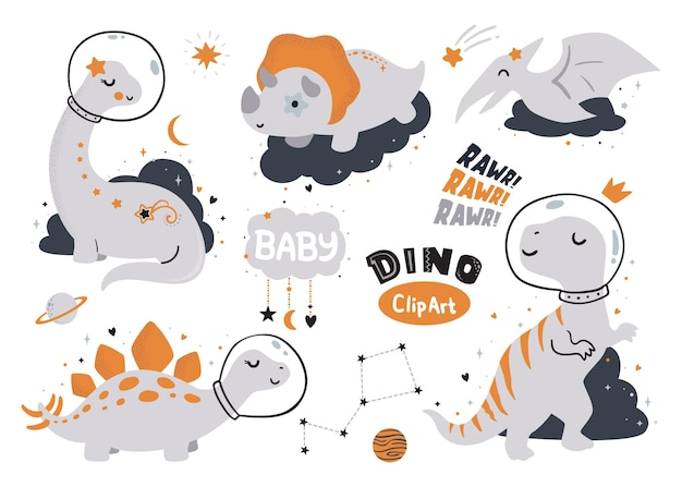 Projekt koszulki dla dzieci cute dino clipart
