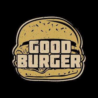 Projekt koszulki dobry burger z burgerem i ilustracją vintage na czarnym tle
