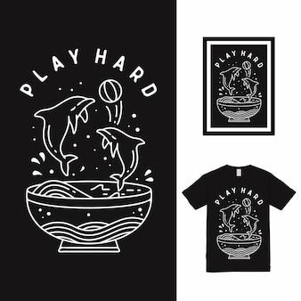 Projekt koszulki dolphin play hard high line art