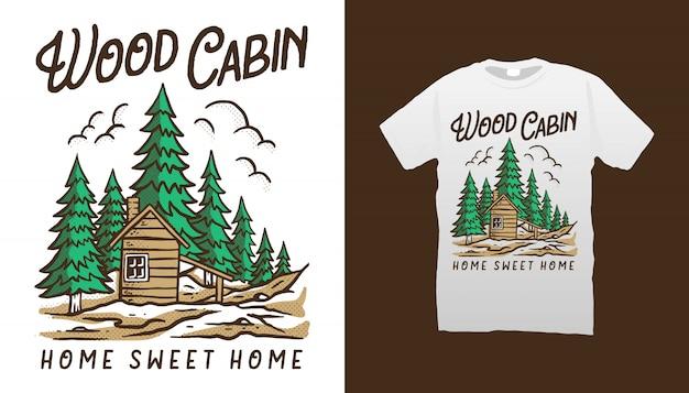 Projekt koszulki drewnianej kabiny