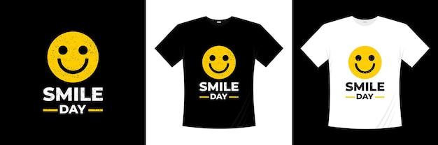Projekt koszulki dzień uśmiechu. emotikon uśmiechu szczęścia.
