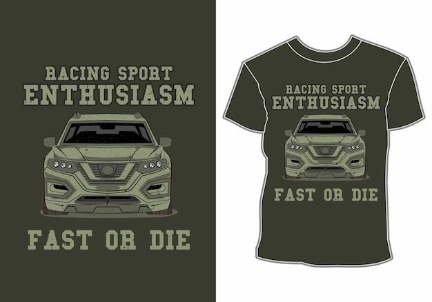 Projekt koszulki entuzjazm sportowy samochód wyścigowy