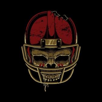 Projekt koszulki grafiki ilustracja czaszki horror piłki nożnej