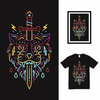 Projekt koszulki grafiki liniowej wilka i miecza