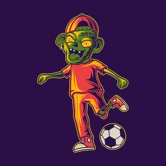 Projekt koszulki grającej w piłkę z pozycją kopnie piłkę zombie ilustracji