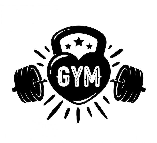 Projekt koszulki gym lover. odznaka emblemat retro