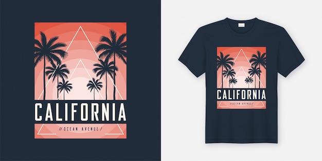Projekt koszulki i odzieży california ocean avenue, typografia,