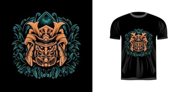 Projekt koszulki illustrtion head samurai