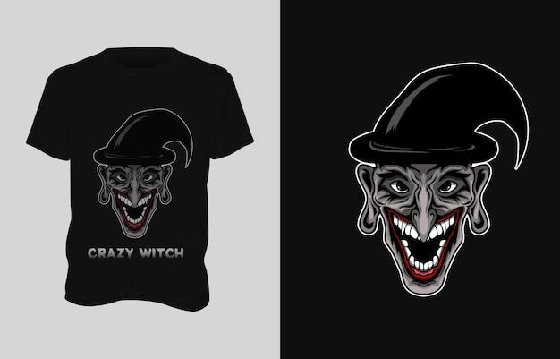 Projekt koszulki ilustracja czarownica