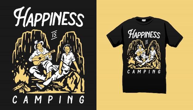 Projekt koszulki ilustracja kemping para