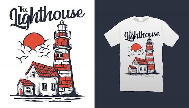 Projekt koszulki ilustracja latarnia morska