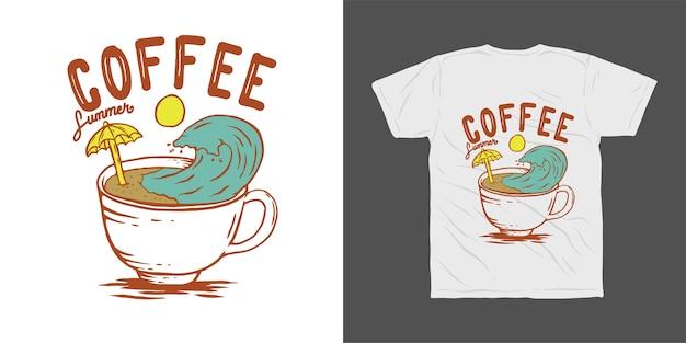 Projekt koszulki ilustracja lato kawy