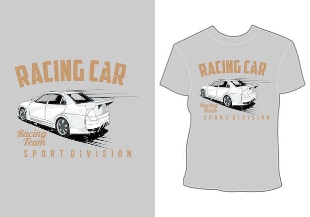 Projekt koszulki, ilustracja samochodu, dział wyścigów samochodowych