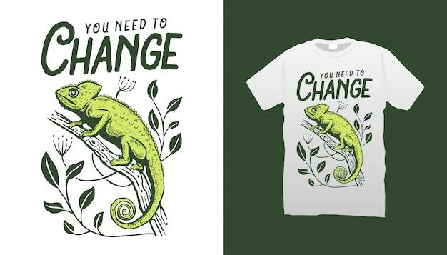 Projekt koszulki ilustracyjnej cameleon