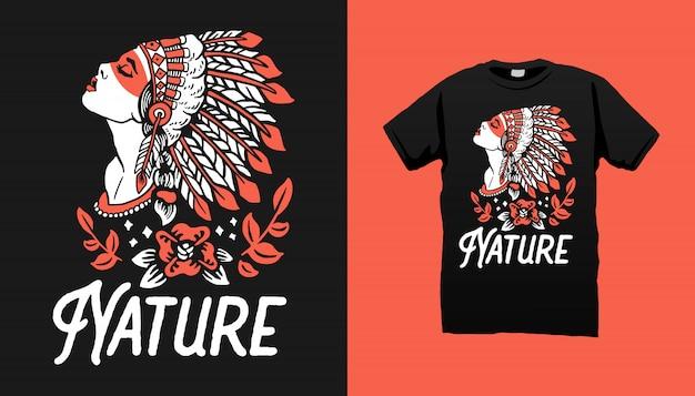 Projekt koszulki indyjskiej kobiety apache