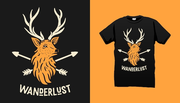 Projekt koszulki jelenia i strzały