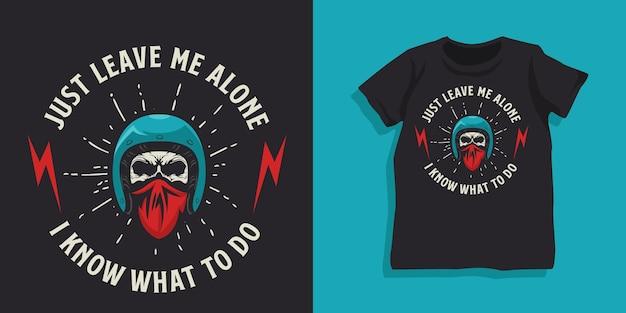 Projekt koszulki kask motocyklisty czaszki