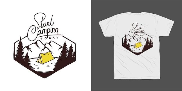 Projekt koszulki kempingowej w górach
