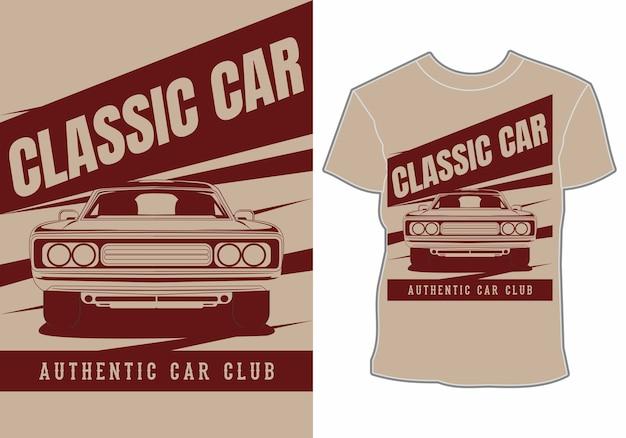 Projekt koszulki klasycznego samochodu