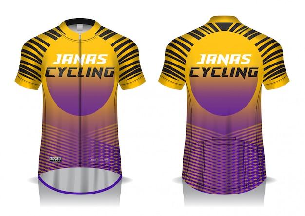 Projekt koszulki kolarskiej, mundur, koszulka z widokiem z przodu iz tyłu