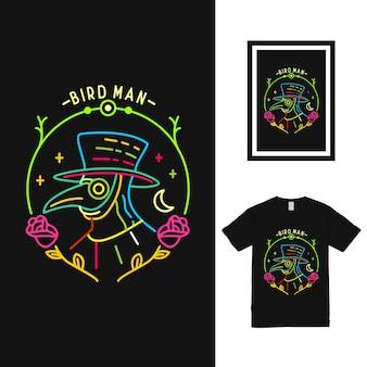 Projekt koszulki kolorowy ptak człowiek