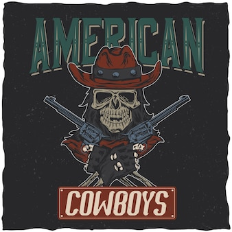 Projekt koszulki kowbojskiej z ilustracją przedstawiającą czaszkę w kapeluszu z dwoma pistoletami w rękach.