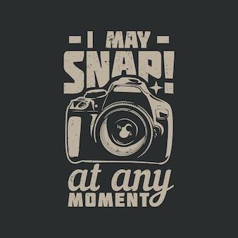 Projekt koszulki, którą mogę w każdej chwili zatrzasnąć z aparatem i ilustracją w stylu vintage na szarym tle