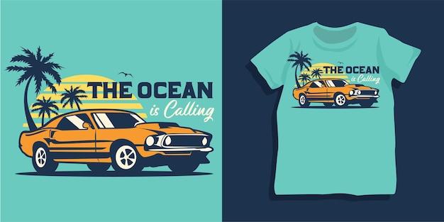 Projekt koszulki letniego samochodu plażowego