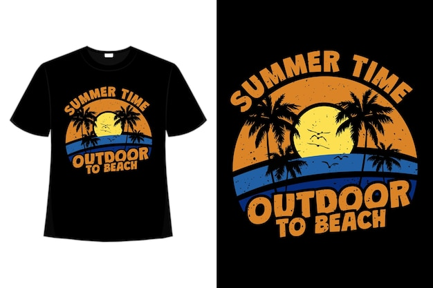 Projekt koszulki letniej plaży na świeżym powietrzu w stylu retro