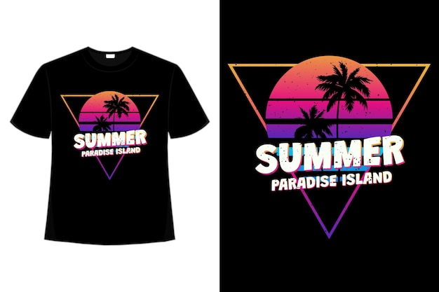 Projekt koszulki letniej rajskiej wyspy zachód słońca w stylu retro