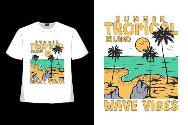 Projekt koszulki letniej tropikalnej wyspy fala wibracji natury ręcznie rysowane vintage w stylu retro