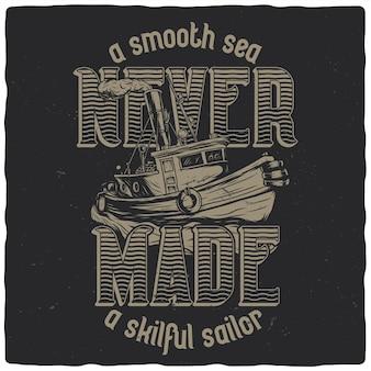 Projekt koszulki lub plakatu z ilustracją łodzi rybackiej