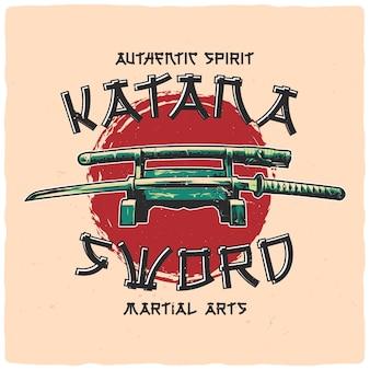 Projekt koszulki lub plakatu z ilustracją miecza katany