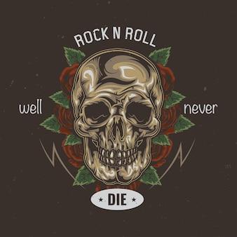 Projekt koszulki lub plakatu z ilustracją przedstawiającą czaszkę i kwiaty na tle