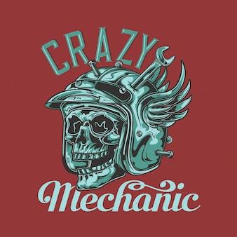 Projekt koszulki lub plakatu z ilustracją przedstawiającą czaszkę mechanika