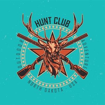 Projekt koszulki lub plakatu z ilustracją przedstawiającą dwa karabiny i głowę jelenia