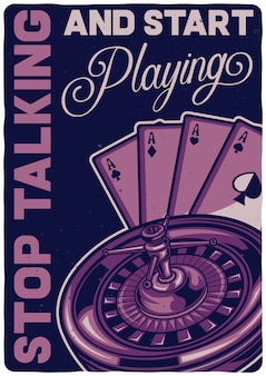 Projekt koszulki lub plakatu z ilustracją przedstawiającą grę w kasynie.