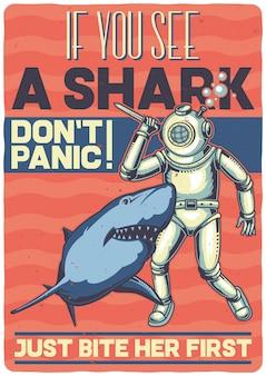 Projekt koszulki lub plakatu z ilustracją przedstawiającą nurka z rekinem.