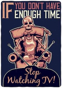 Projekt koszulki lub plakatu z ilustracją przedstawiającą szkielet na sofie.