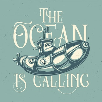 Projekt koszulki lub plakatu z ilustracją przedstawiającą zabawną łódź podwodną