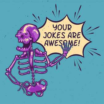 Projekt koszulki lub plakatu z ilustracją śmiejącego się szkieletu.