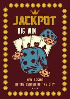 Projekt koszulki lub plakatu z ilustracjami przedstawiającymi elementy kasyna: karty, żetony i ruletkę.