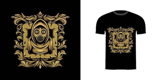 Projekt koszulki maska wojownika z grawerowanym ornamentem