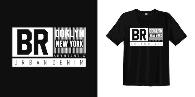 Projekt koszulki miejskiej denim brooklyn new york