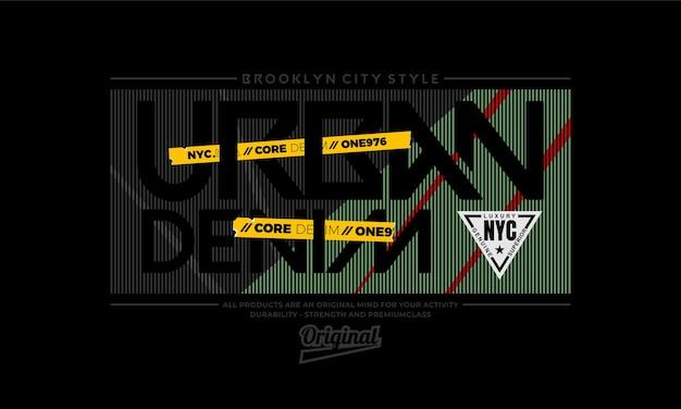 Projekt koszulki miejskiej denim typografii premium wektorów