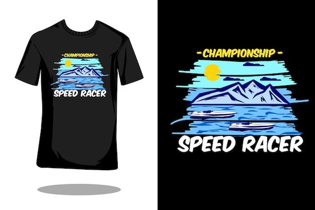 Projekt koszulki mistrza prędkości wyścigowej w stylu retro