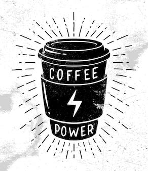 Projekt koszulki moc kawy. retro godło, logo, odznaka.