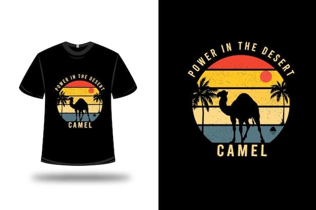 Projekt koszulki. moc na wielbłądzie pustyni w żółto-pomarańczowym i niebieskim