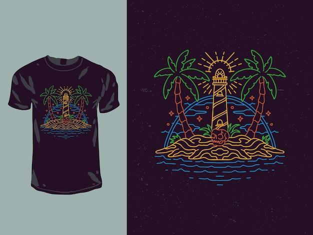 Projekt koszulki monoline z latarnią morską i wyspą czaszki